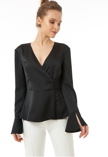 Jimmy Sanders black Jimmy Sanders Women's Sleeveless Mini V Neck Shirt 57767AAC5CA585GS_1