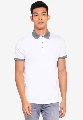 Burton Menswear London white White Jacquard Collar Polo Shirt 5DA63AAC48BEA6GS_1