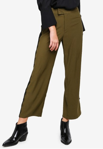 BYSI green Lace Side Trim Pants 4BF58AAFC10615GS_1