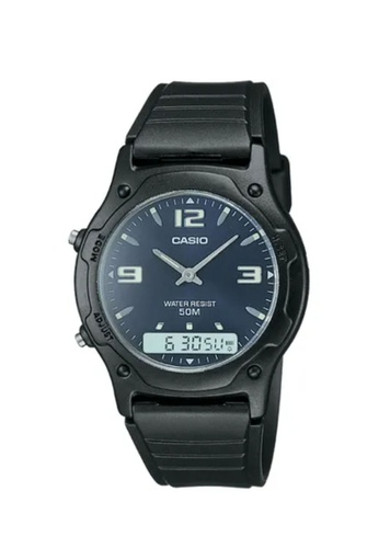 CASIO black Casio Men's Analog-Digital AW-49HE-2AVDF Black Resin Band Casual Watch CF8F0ACD2C2DB2GS_1