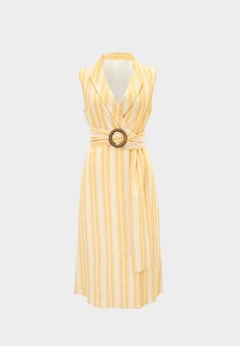 Pomelo orange Purpose Sleeveless Belted Striped Dress - Orange BAF6EAA93BD9A7GS_1