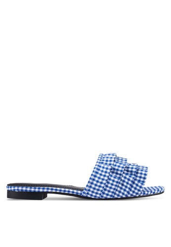 Something Borrowed blue Gingham Sliders AD624SH80AA91FGS_1