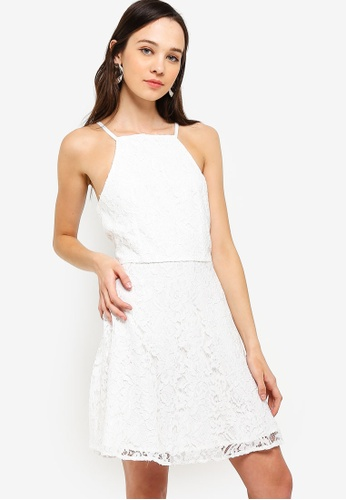 Something Borrowed white Cut In Fit And Flare Lace Dress 44BB9AA7B7A768GS_1