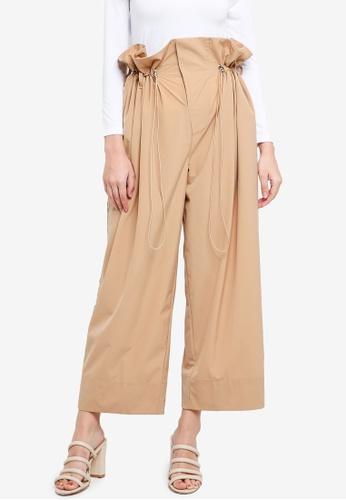 Zalia brown Drawstring Wide Leg Pants 911BDAA663AF8BGS_1
