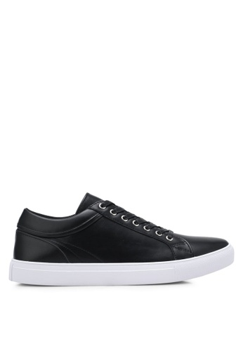 ZALORA black Faux Leather Sneakers with Trim Detail 3C8EBSHBC55071GS_1