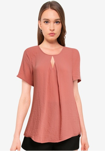 Vero Moda pink Zigga Cutout Short Sleeve Top 62CE1AA8D5F387GS_1