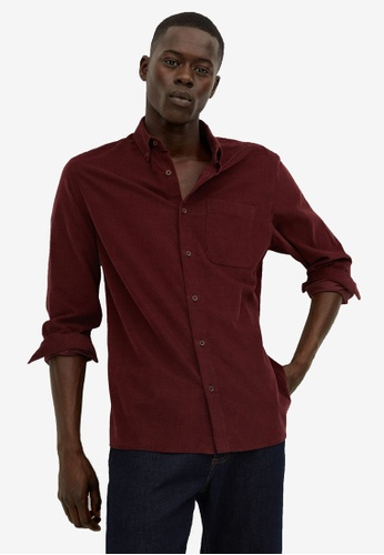 Mango Man red Regular Fit Micro Corduroy Shirt 36A4EAA556B7EEGS_1