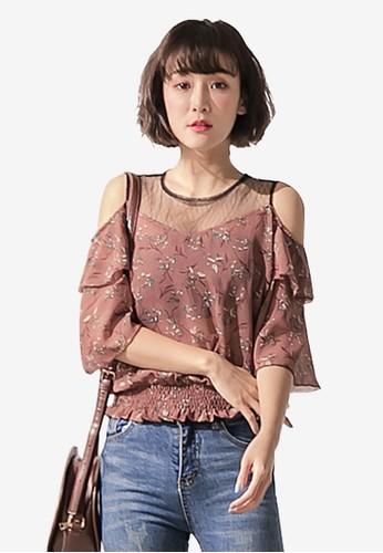Tokichoi brown Lace Mesh Neck Floral Top DEA0FAAFAB0256GS_1