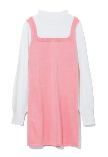 b+ab pink Two tone sweater dress D8AC6AA2394B8EGS_1