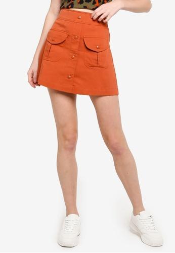 Hopeshow orange and brown High Waist Short Skirt 440A2AA116536AGS_1