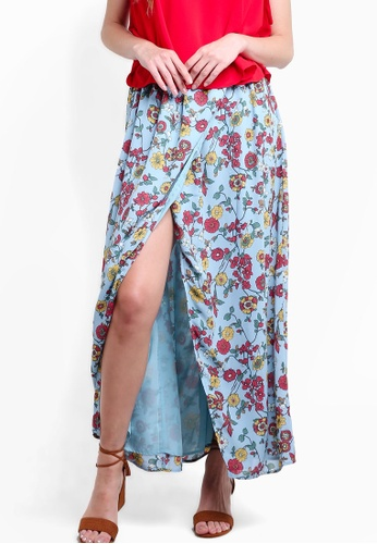 Glamorous blue Floral Print Wrap Over Maxi Skirt GL059AA32AGPMY_1