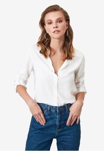 Trendyol white Pattern Long Sleeve Shirt 5A39DAA7E5F636GS_1