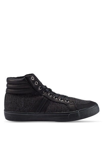 Burton Menswear London black Black Hi Top Trainers On A Black Sole With Material Inserts AAA3DSH3F512DEGS_1