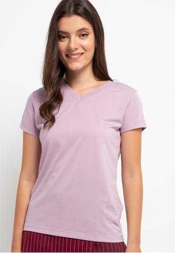 Tolliver purple V Neck Basic Short Sleeve Tee 5F082AAF7653C0GS_1