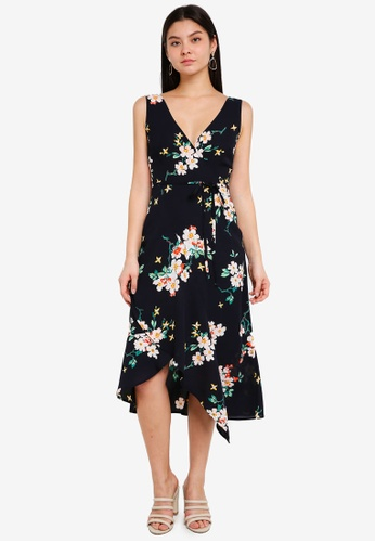 WAREHOUSE navy Blossom Midi Dress 5C013AAAB01C9DGS_1
