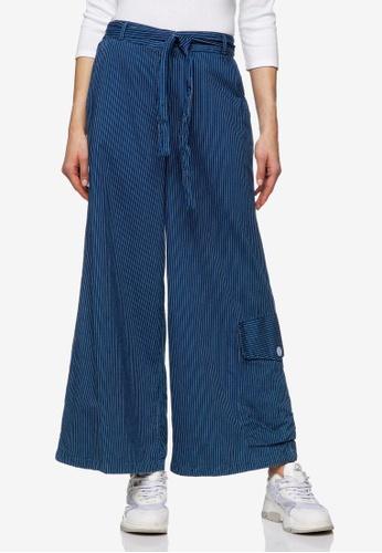 United Colors of Benetton 藍色 大口袋軟料休閒長褲 2C9A9AAEB5BDB6GS_1