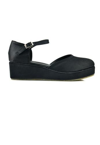 SHINE black SHINE Round Toe Ankle Strap Platform Wedges 04222SH06B1D6DGS_1