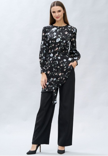 Loveaisyah multi Floral Long Sleeves Top and Black Pants Set 815D3AACA25375GS_1