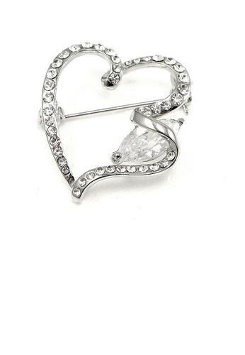 Glamorousky silver Elegant Heart Brooch with Silver Austrian Element Crystal D48B7ACE3C6EE6GS_1