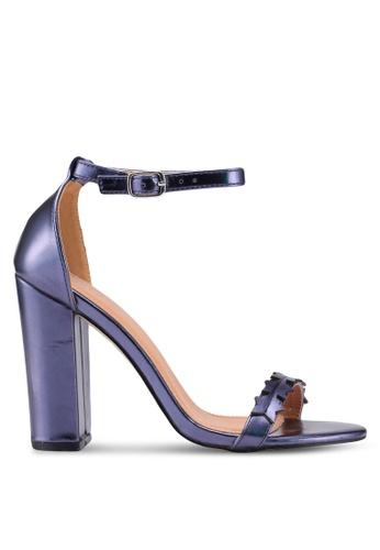 Public Desire 藍色 金屬感星星一字帶高跟鞋 06FE7SHFC02F17GS_1