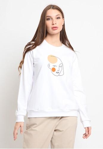 et cetera white Long Sleeve Basic Sweatshirt B085AAAA2E1FF4GS_1
