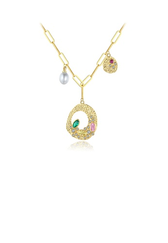 Glamorousky white Fashion and Elegant Plated Gold Hollow Geometric Imitation Pearl Pendant with Colorful Cubic Zirconia and Necklace 2C561AC290E839GS_1