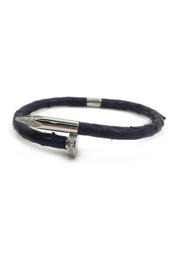 TIAS black and silver Tias Nail Stones Python Leather Bracelet D0C97AC8565A6FGS_1