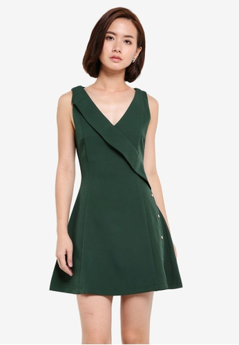 ZALORA green V Neck Fit & Flare Dress with Button Detail DAF38AA338AC30GS_1