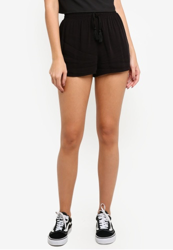 Supre black Melrose Tie Front Shorts F5B66AAD598E9AGS_1