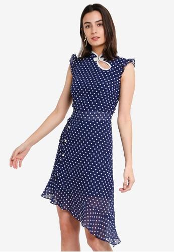 Megane blue Red Romance Charly Chiffon Mandarin Collar Midi Dress 757F6AAF0607A4GS_1
