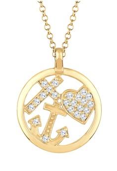 harga Elli Germany 925 Sterling Silver Kalung Berlapis Emas Dengan Kristal Zirconia Putih Zalora.co.id