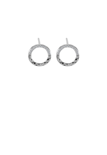 Glamorousky white 925 Sterling Silver Simple Temperament Hollow Geometric Pattern Circle Stud Earrings with Cubic Zirconia B8B1FACE71B9FFGS_1