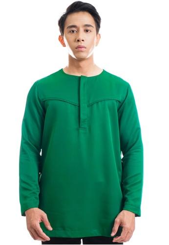 Ashura green Gibran Kurta With V-Piping 2F1A8AA8B85460GS_1
