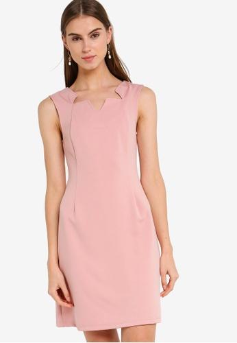 ZALORA 粉紅色 無袖鉛筆洋裝 0A64BAA65B605CGS_1