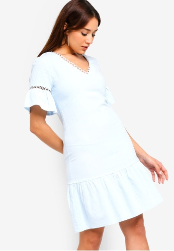 ZALORA blue Flare Sleeves Dress with Trimmings A9776AA410C742GS_1