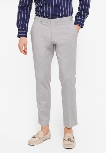 Burton Menswear London grey Slim Fit Light Grey Textured Strech Trousers BU964AA0SWLXMY_1