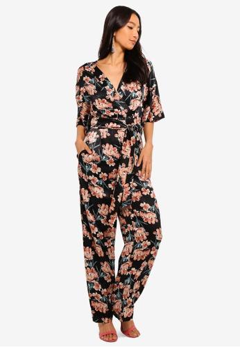Buy Mela London Satin Floral Jumpsuit Online Zalora Malaysia
