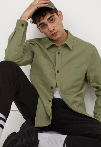 H&M green Regular Fit Shirt Jacket 8CF6CAA3401782GS_1