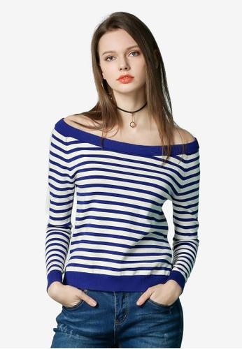 Hopeshow white Striped Off Shoulder Top 1A6A8AA372E711GS_1