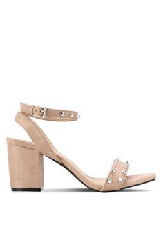 【ZALORA】 鉚釘露趾繞踝粗跟鞋