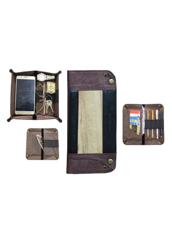 Jacinto and Lirio brown Guhit Vegan Leather Valet Tray Organizer Wallet Pencil Case, Glasses Case CD176HLB94841AGS_1