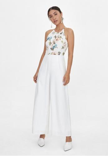 Pomelo white Halter Neck Floral Jumpsuit - White E1783AA16785A7GS_1