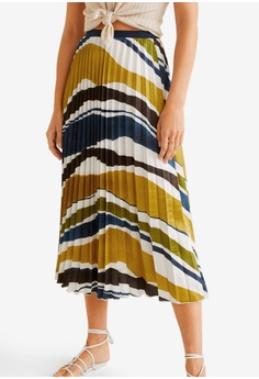 ceb8b5b283 Mango green Satin Pleated Skirt F1308AACBFC640GS_1