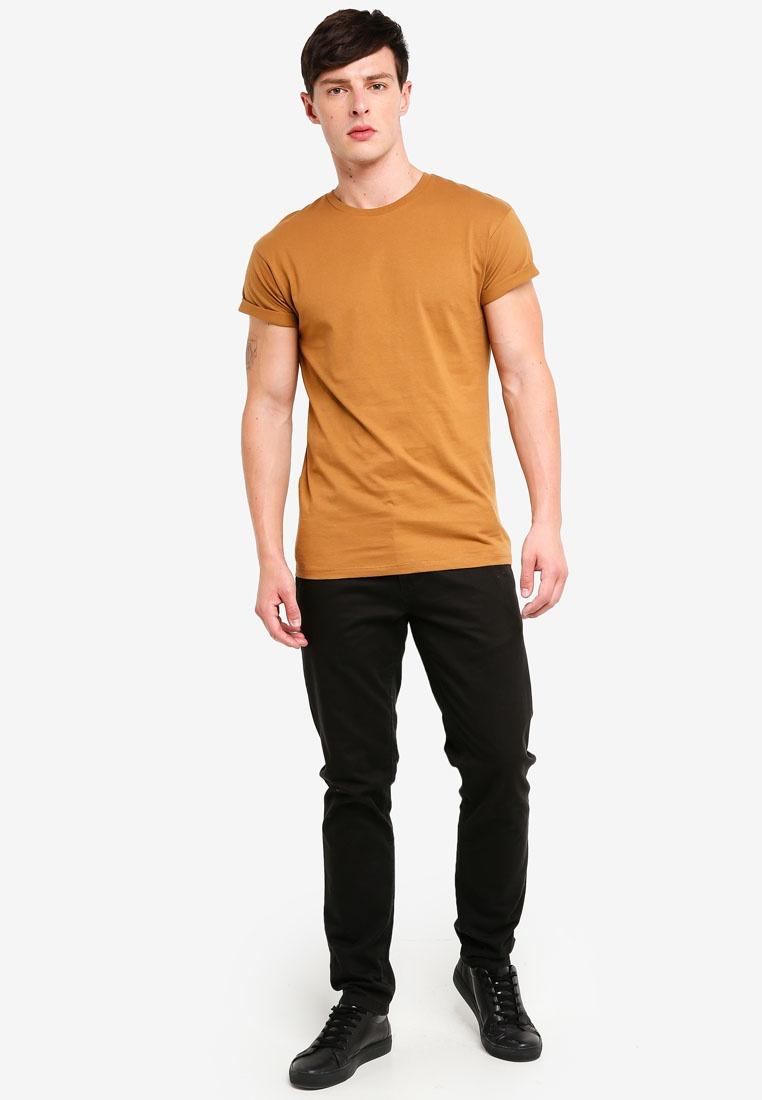 Shirt Sleeve T Tabacco Topman Brown Short qCzzfS1