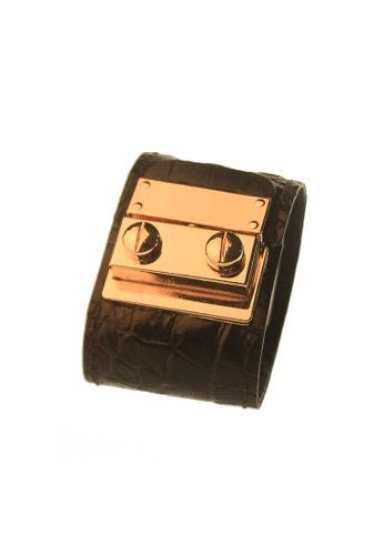 CSHEON black and gold Secret Code 3D Croc Skin Print Bracelet Cuff Black 0C217AC22E36FCGS_1