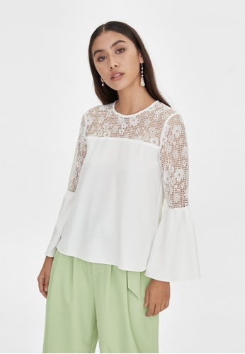 Pomelo white Lace Accent Blouse - White 21C9EAA1A80C3EGS_1