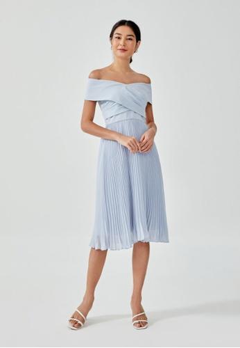 Love, Bonito blue Ivanki Pleated Off Shoulder Midi Dress 3C581AA03ACC76GS_1