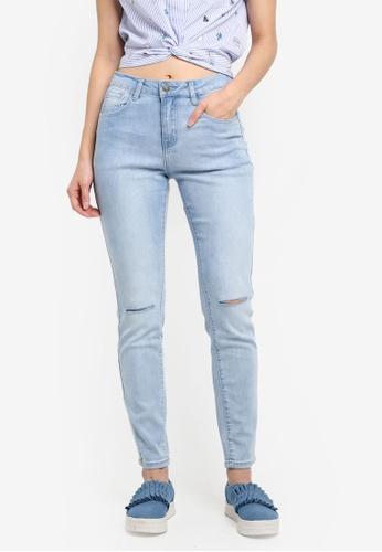 Something Borrowed blue Basic Slash Knee Skinny Jeans 4165BAAF4D7C46GS_1