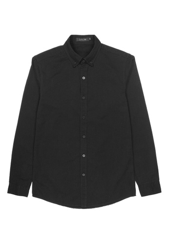 DRUM black Smart Casual Long Sleeve Shirt - Black 5DB3EAA6395619GS_1