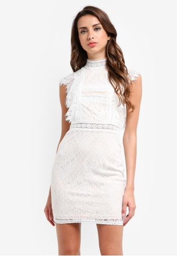 MISSGUIDED white Lace High Neck Sleeveless Mini Dress EBBB6AAB42A349GS_1